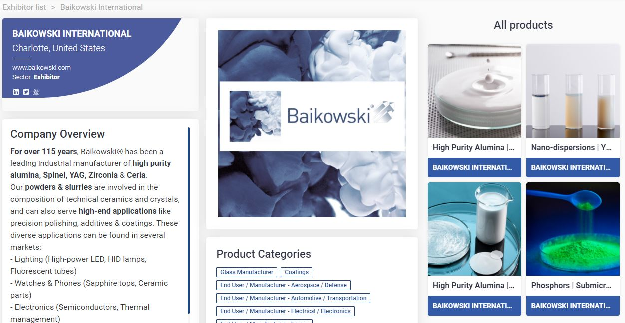 Baikowski online profile at ceramics expo connect 2020